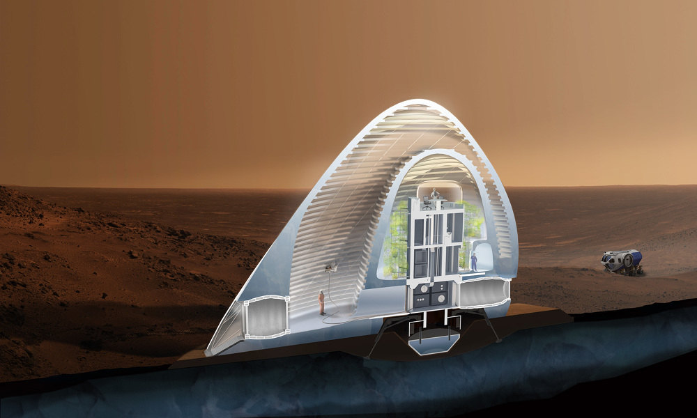 Mars ice house clouds architecture office for Nasa architecture
